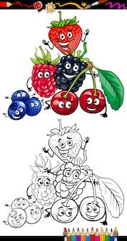 Frutas de desenho animado para colorir livro