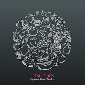 Frutas de mão desenhada para o mercado dos agricultores