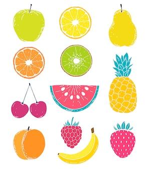 Frutas de mão desenhada