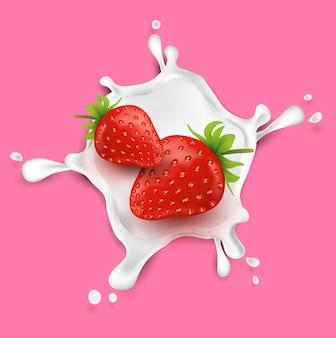 Frutas de morango e salpicos de leite. frutas e leite fresco.