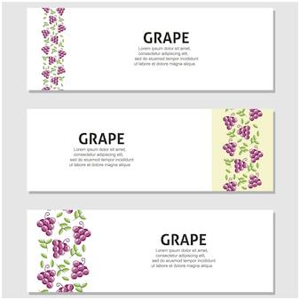 Frutas de uva em design plano