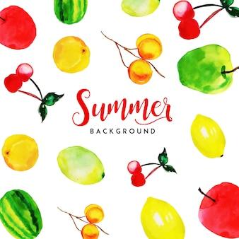 Frutas de verão aquarela fundo multiuso