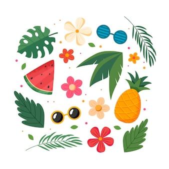 Frutas de verão, folhas e flores, coleção de elementos. ilustração em vetor em estilo simples