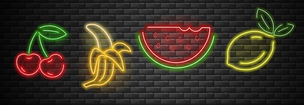 Frutas definir luz de neon, cereja, banana, melancia e limão neon, conjunto de verão, fundo de tijolo