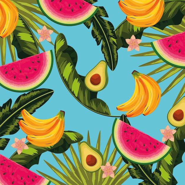 Frutas deliciosas e folhas tropicais fundo de plantas