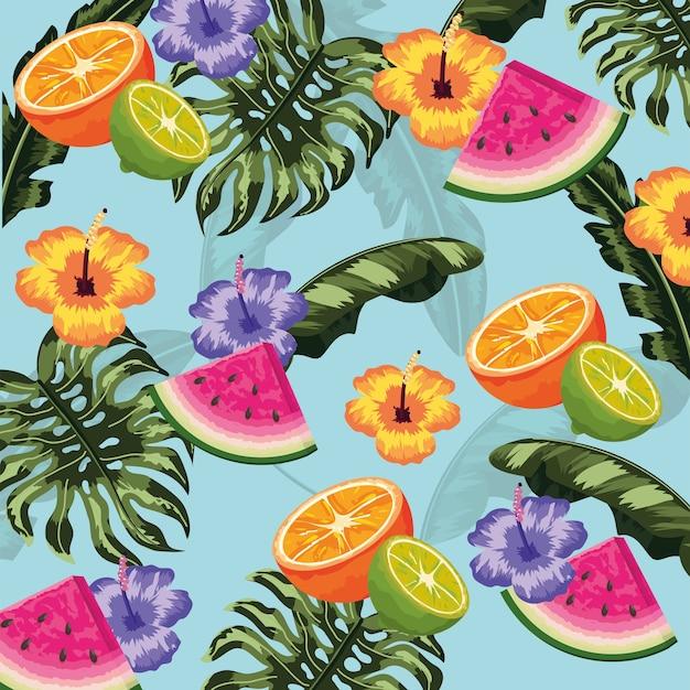 Frutas deliciosas tropicais e folhas de plantas de fundo