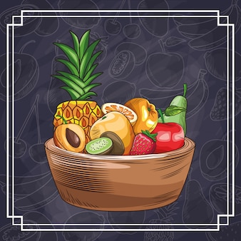 Frutas desenhadas à mão