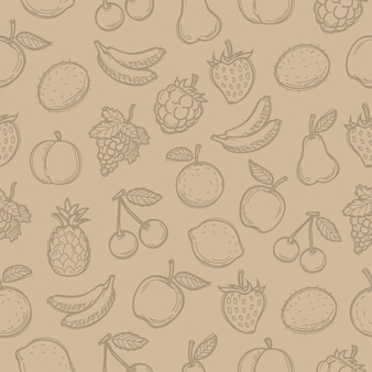 Frutas desenhadas do doodle padrão, existe a possibilidade de edição, formato eps 10