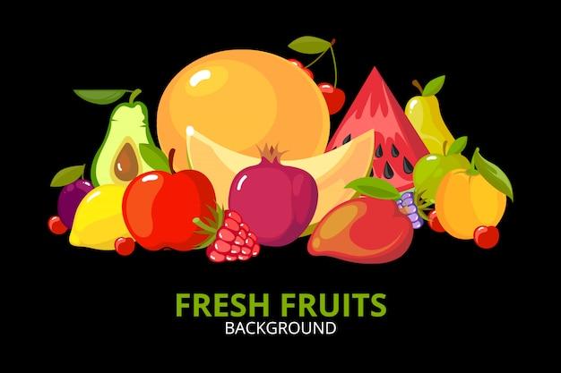 Frutas dos desenhos animados. comida saudável colorida isolada