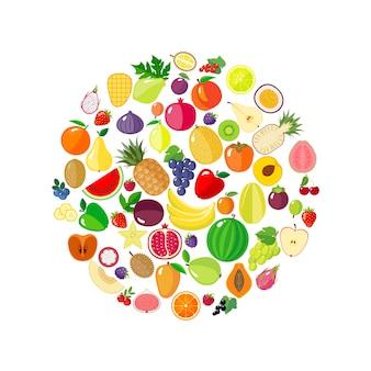 Frutas e bagas em forma de círculo