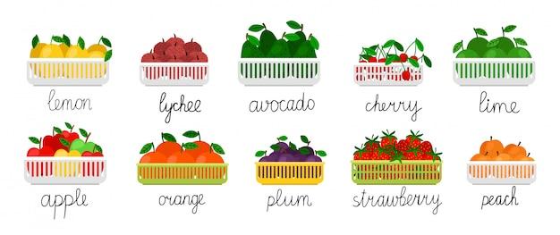 Frutas e bagas em recipientes