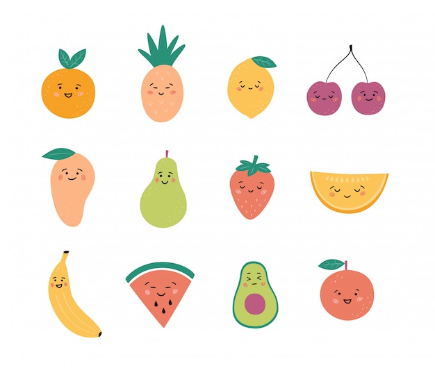 Frutas e bagas engraçadas. definir caracteres de frutas kawaii. vetor desenhado à mão