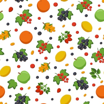 Frutas e bagas são fontes de vitamina c. padrão de vetor sem emenda.