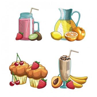 Frutas e bebidas desenhadas à mão