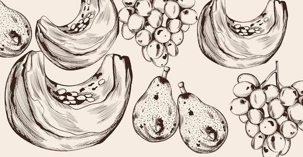 Frutas e fatia de abóbora padrão arte de linha. decorações de colheita de outono outono