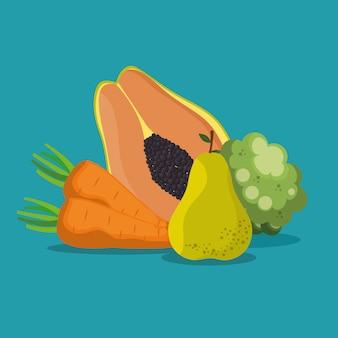 Frutas e legumes alimentos saudáveis