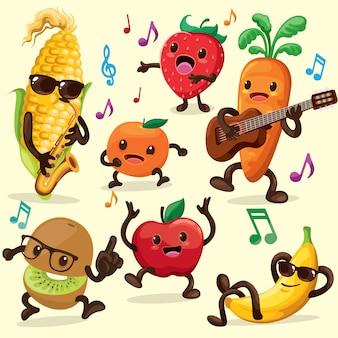 Frutas e legumes cantar e dançar