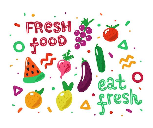 Frutas e legumes coloridos mão desenhada