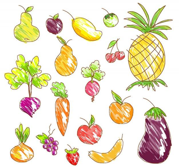 Frutas e legumes de vetor.