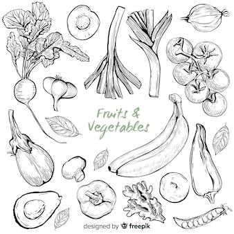 Frutas e legumes desenhados à mão