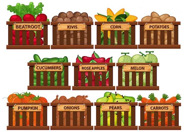 Frutas e legumes frescos em baldes em fundo branco