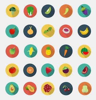 Frutas e legumes ícones design plano