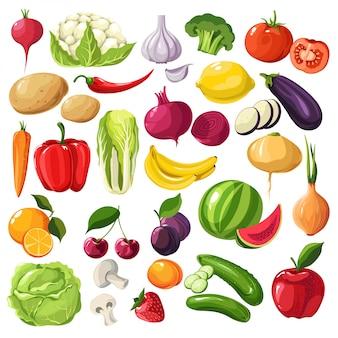 Frutas e legumes, ingredientes orgânicos, refeições úteis