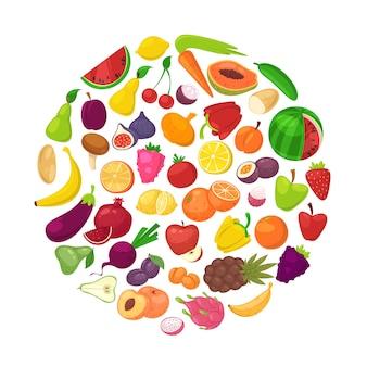 Frutas e legumes orgânicos saudáveis em círculo isolado no branco