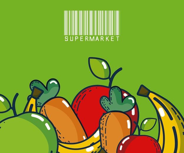 Frutas e legumes super produtos de mercado
