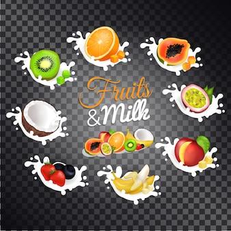 Frutas e leite vector conjunto de ilustrações