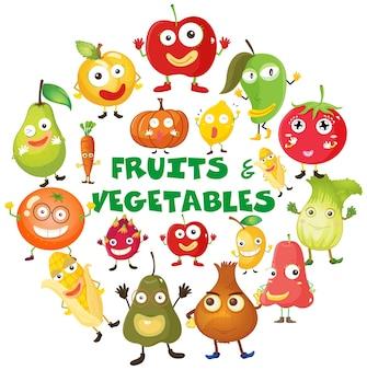 Frutas e vegetais com rostos