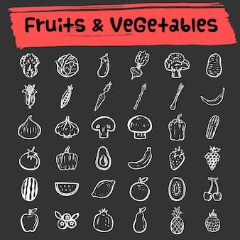 Frutas e vegetais doodle conjunto de ícones