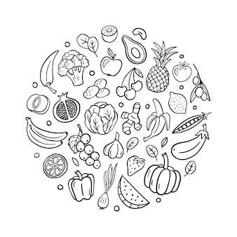 Frutas e vegetais em estilo doodle