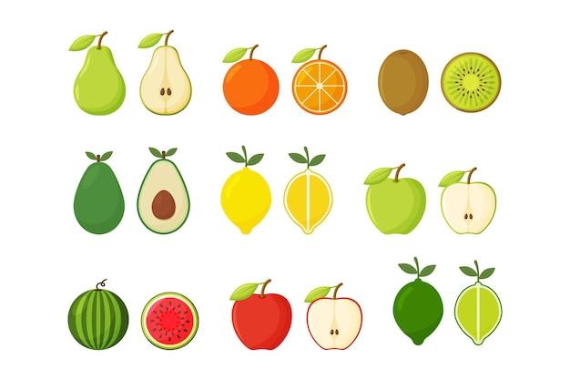 Frutas e vegetais em fundo branco
