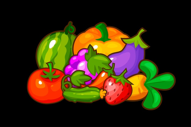 Frutas e vegetais frescos, frutas orgânicas da horta para a caça. ilustração vetorial definir vegetais maduros para design gráfico.