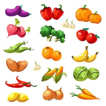 Frutas e vegetais. ícones de alimentos orgânicos