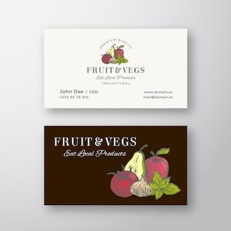 Frutas e vegetais locais esboçar sinal abstrato ou logotipo e modelo de cartão.