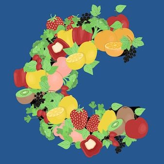 Frutas e vegetais na forma da letra c, imagem vetorial de vitaminas sazonais em estilo simples