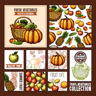 Frutas e vegetais postais
