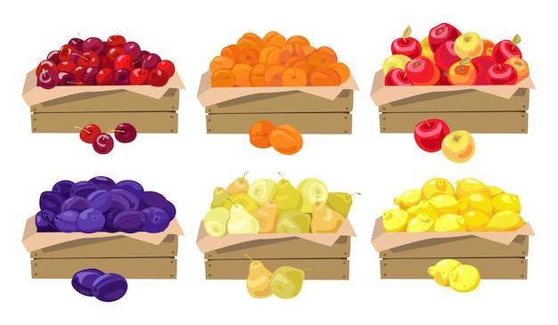 Frutas em caixas de madeira
