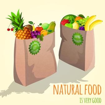 Frutas em ilustração de saco de papel
