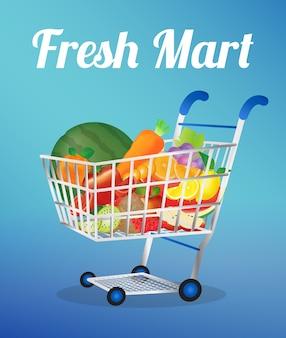 Frutas em um carrinho de compras