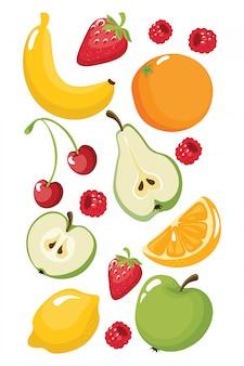 Frutas engraçadas banana, laranja, morango, maçã, pêra, limão, cereja, framboesas. comida suculenta