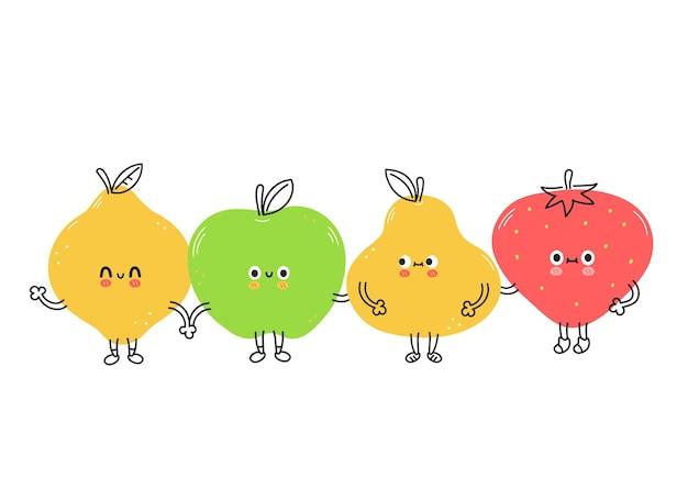 Frutas engraçadas de limão, morango, pêra, maçã