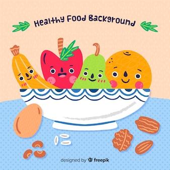 Frutas engraçadas em um fundo de tigela