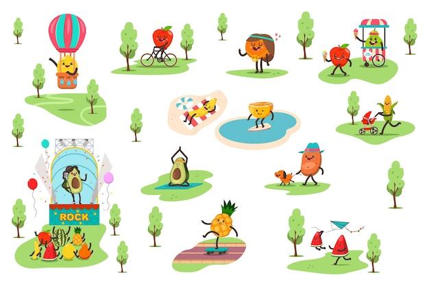 Frutas engraçadas no parque passam diferentes atividades ao ar livre e praticam esportes