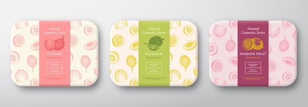 Frutas exóticas banho cosméticos pacote definir vetor abstrato embrulhado contêiner rótulos embalagem design c ...