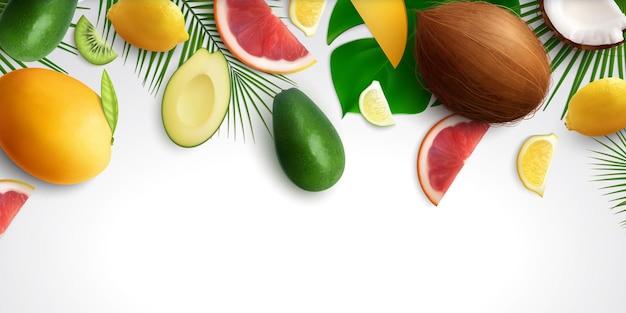 Frutas exóticas deixam um fundo realista com composição de fatias de frutas tropicais e folhas na ilustração de fundo em branco