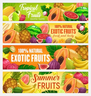 Frutas exóticas e banners de frutas tropicais. frutas de desenho animado