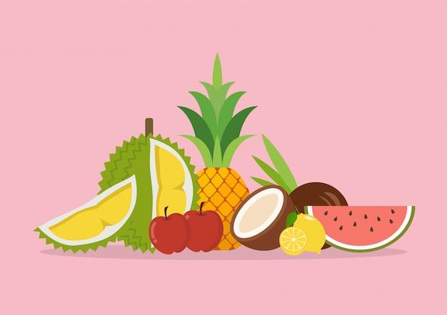Frutas exóticas orgânicas sazonais
